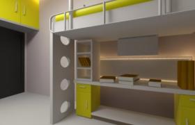 上床下桌布局设计卡通儿童床3D效果模型展示