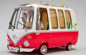 卡通新颖时尚造型设计大众品牌复古观光车3d model模型下载
