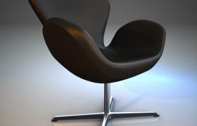舒適人體工程學設計軟性高雅皮藝商務座椅3D模型展示