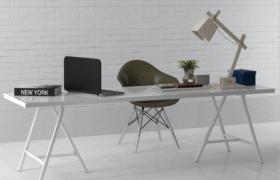 純色簡約風格室內辦公桌時尚讀寫書桌3D模型(含貼圖)
