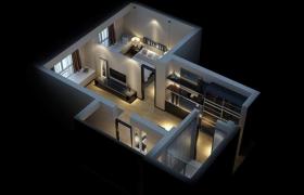 56平米低調奢華設計一室一廳獨居室樣板房3D場景模型(含燈效)