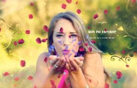 七夕宣傳片AE模板_愛麗絲夢境唯美玫瑰花瓣飄散展示甜蜜愛情相冊模板
