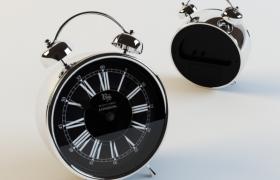 鍍鉻件工藝制作黑色英式風格金屬鬧鐘3D模型展示