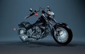 鋼絲輪轂V型雙缸設計黑色騎跨式巡航太子車3d模型(max格式)