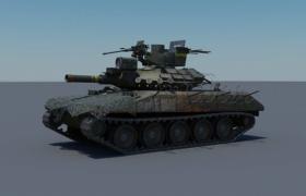 現代化軍事裝甲設備短柄大口徑履帶式戰斗坦克3D模型