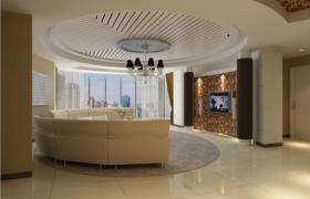 白色圓形吊頂商務會客接待廳3D場景渲染模型(含貼圖)