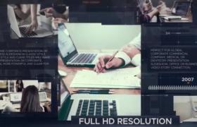 AE模板-切片幻燈片風格商務合作圖片展示企業業務宣傳視頻模板