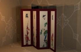 梅蘭竹菊中式屏風臥室復古藝術裝飾3D模型(含貼圖)