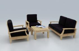 簡約木藝洽談室沙發組合座椅3D效果模型(含場景)