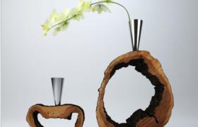 創意性精美樹樁雕塑家居植物裝飾擺件3D效果模型