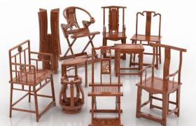 經典復古家具高品質桃木雕刻古代中式座椅3D組合模型套裝下載
