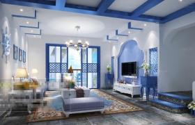 地中海家居装饰设计风格室内3d场景工程渲染模型