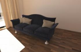 蓝色简约设计家居布艺沙发3d模型设计