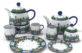 绿色田园风成套瓷艺茶具家居用品摆件3D模型展示