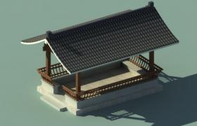 古代江景建筑西湖休闲凉亭3D古建筑建模展示(max格式)