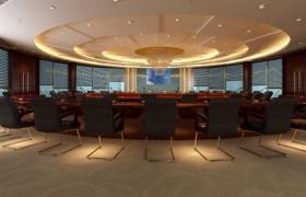 宽敞大气的环形商务会议厅3D渲染效果室内工程建模MAX模型