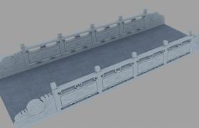 对称棱形花纹雕刻古建筑石桥栏杆3D模型(含贴图)