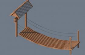 古代河流栈道通道木制索桥3D效果模型展示(含贴图)