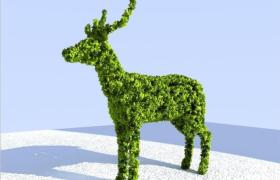 人工造景設計麋鹿野生動物外觀綠色綠植3D創意景觀植物模型