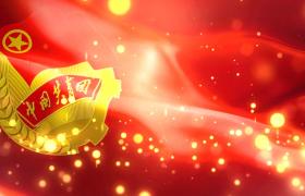红色党政-红色背景金色粒子效果共青团纹章波纹无缝循环运动大气党政视频素材国庆节
