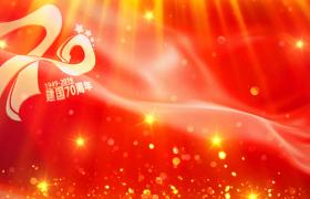 红色党政-红色背景星光粒子波纹视觉效果建国70周年庆国庆舞台背景视频素材国庆节