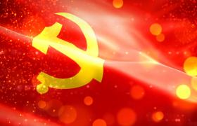 红色党政-红色基调金色粒子光斑飘落效果党徽演绎大气党政视频素材国庆节