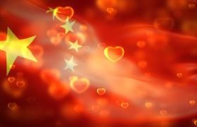 红色党政-爱心悬浮五星红旗飘扬庄严大气红色党政背景视频素材国庆节