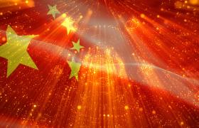 红色党政-三维粒子光束旋转演绎无缝循环展示五星红旗飘扬震撼大气党政背景视频素材国庆节