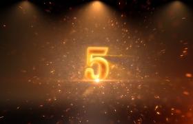 倒計時-大氣金色火焰粒子效果三維數字翻轉5秒倒計時開場預熱視頻素材