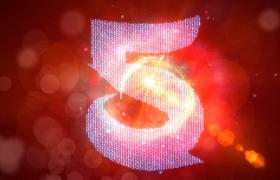 倒計時-紅色磚石粒子匯集描繪數字5秒倒計時年會預熱開場視頻素材