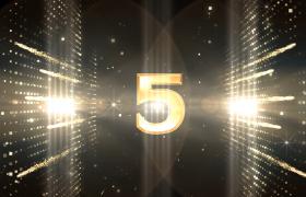 倒计时-金色粒子闪光爆炸效果数字震撼登场5秒倒计时年会颁奖盛典预热视频素材