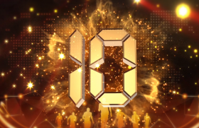倒計時-金色粒子視覺效果震撼數字演繹年會盛典頒獎典禮預熱倒計時開場視頻素材