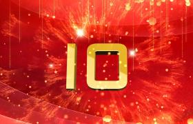 倒计时-喜庆红色背景金色数字爆炸三维动态演绎大气年会开场预热倒计时视频素材