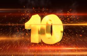 倒計時-紅金色粒子視覺效果震撼大氣年會開場預熱十秒倒計時視頻素材