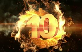 倒计时-火焰特效金色数字十秒倒计时年会开场视频素材