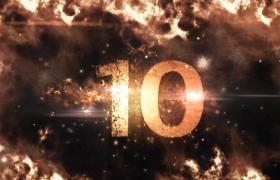 倒計時-火焰特效震撼視覺數字展示大氣演繹年會開場10秒倒計時視頻素材