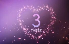 倒計時-花瓣愛心邊框唯美浪漫粉色婚禮5秒倒計時開場視頻素材