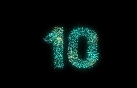 倒计时-七彩粒子烟花效果唯美创意十秒倒计时开场渲染视频素材