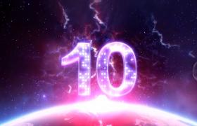 倒計時-閃電特效宇宙空間大氣十秒倒計時活動預熱視頻素材