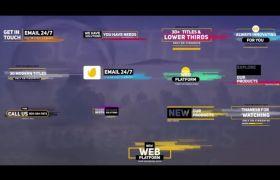 透明視頻媒體背景彩色藝術條紋字幕包裝展示動畫AE工程文件(30例)