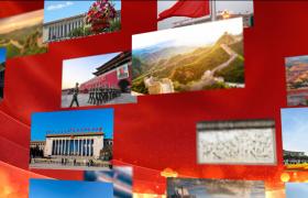 党政AE模板_大气中国红背景党政照片汇聚展示宣传动画AE模板国庆节