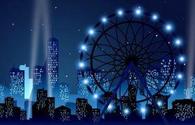 婚禮素材-唯美城市夜景摩天輪大氣婚禮舞臺演出浪漫婚禮背景視頻素材