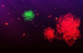 婚禮素材-光效玫瑰綻放唯美婚禮舞臺演出背景視頻素材