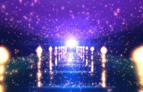 婚禮素材-粒子燈光通道紫色爛漫婚禮演出舞臺背景視頻素材