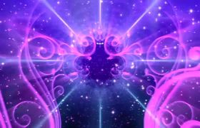 婚禮素材-光線線條花紋展示演繹唯美紫色夢幻婚禮演出舞臺背景視頻素材