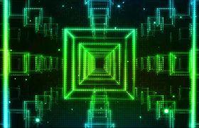 VJ素材-動感光線方形通道空間穿梭旋轉七彩變化酷炫夜場VJ視頻素材