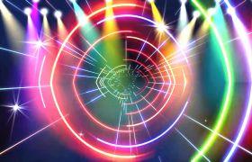 VJ素材-动感酷炫七彩灯光粒子线条穿梭环形视觉效果酒吧夜场舞台背景视频素材