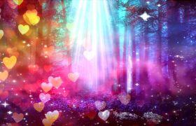 婚礼素材-多彩光线照耀爱心漂浮粒子动态流转唯美梦幻婚礼舞台演出背景视频素材