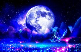 光效素材-光效蝴蝶飞舞浪漫中秋月圆视频素材