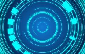 舞台背景-蓝色科技圆环循环动态旋转酷炫舞台演出DJ夜场背景视频素材